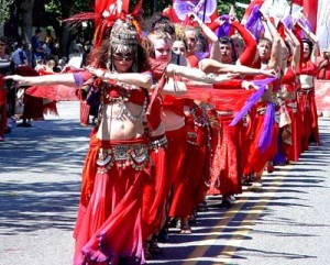 Delilah leads the Billion Bellies in Fremont Solstice Parade (Seattle)